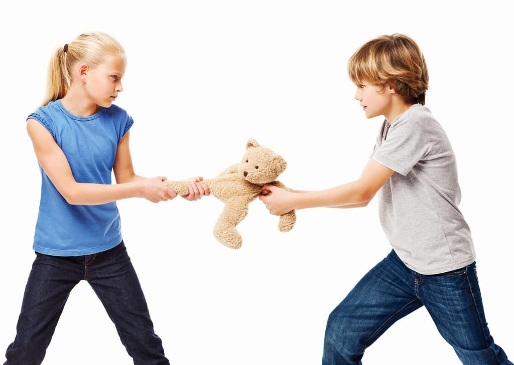 Brother and sister pull at a stuffed teddy bear. Horizontal shot. Isolated on white.