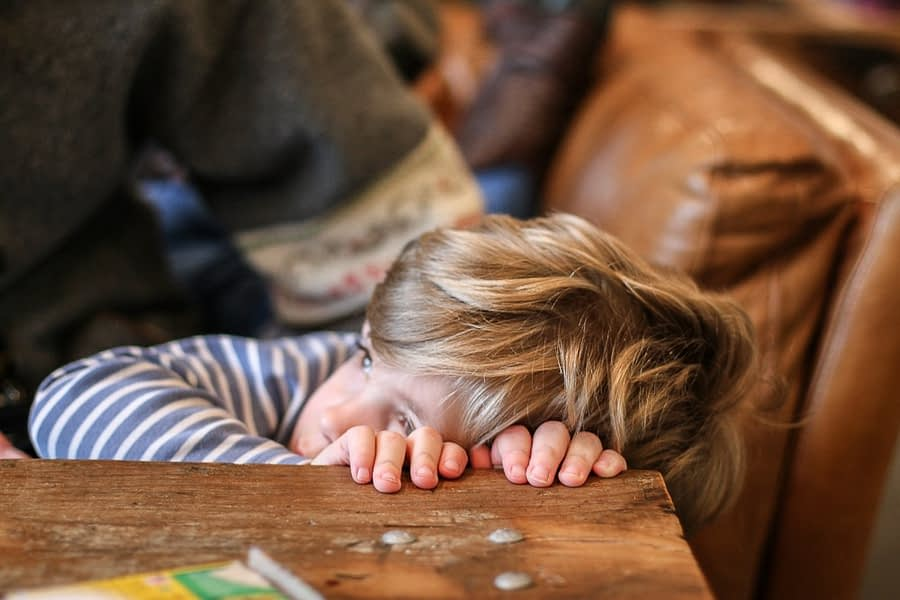 Child feeling badly after being punished by parent